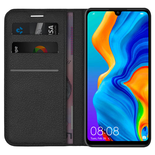 Leather Wallet Case & Card Holder Pouch for Huawei P30 Lite - Black